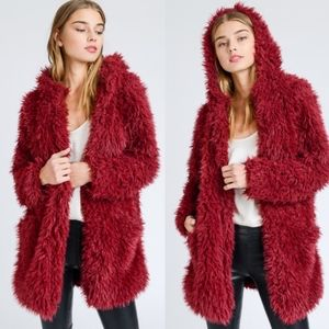 ROSALYNN Furry Jacket - WINE